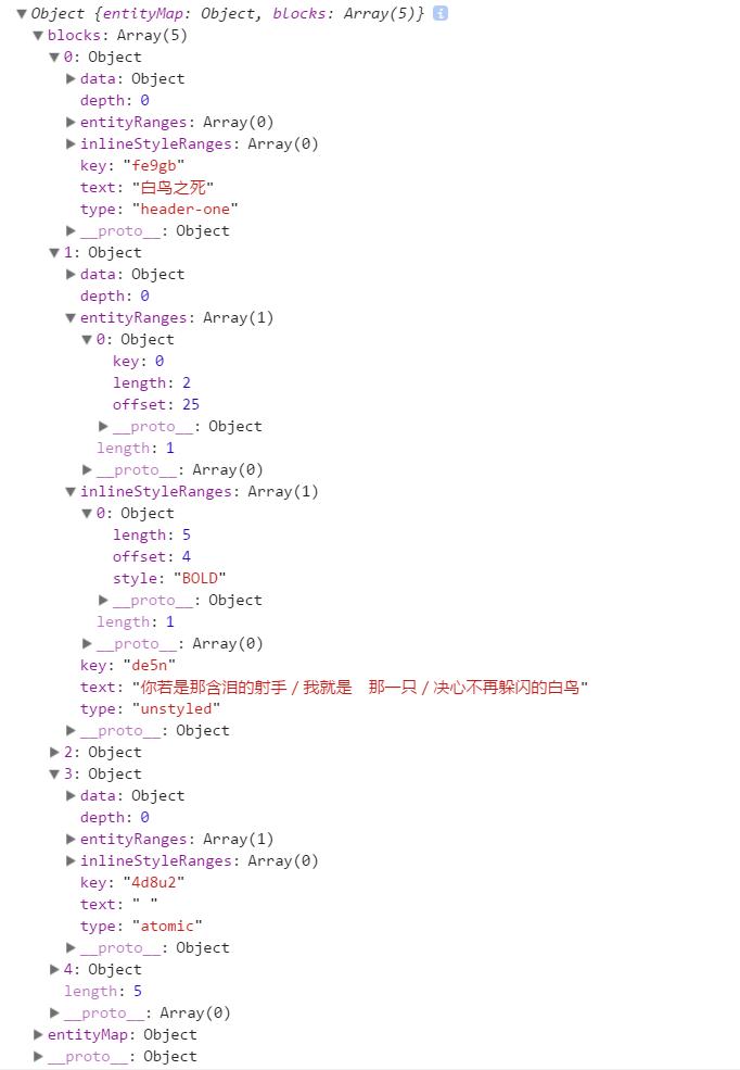 经过 covertToRaw 之后的编辑器内容:blocks